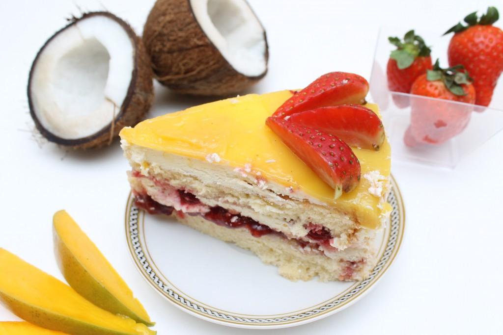 Jahodovo-mangový dort